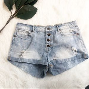 Forever 21 | Distressed Button Closure Shorts